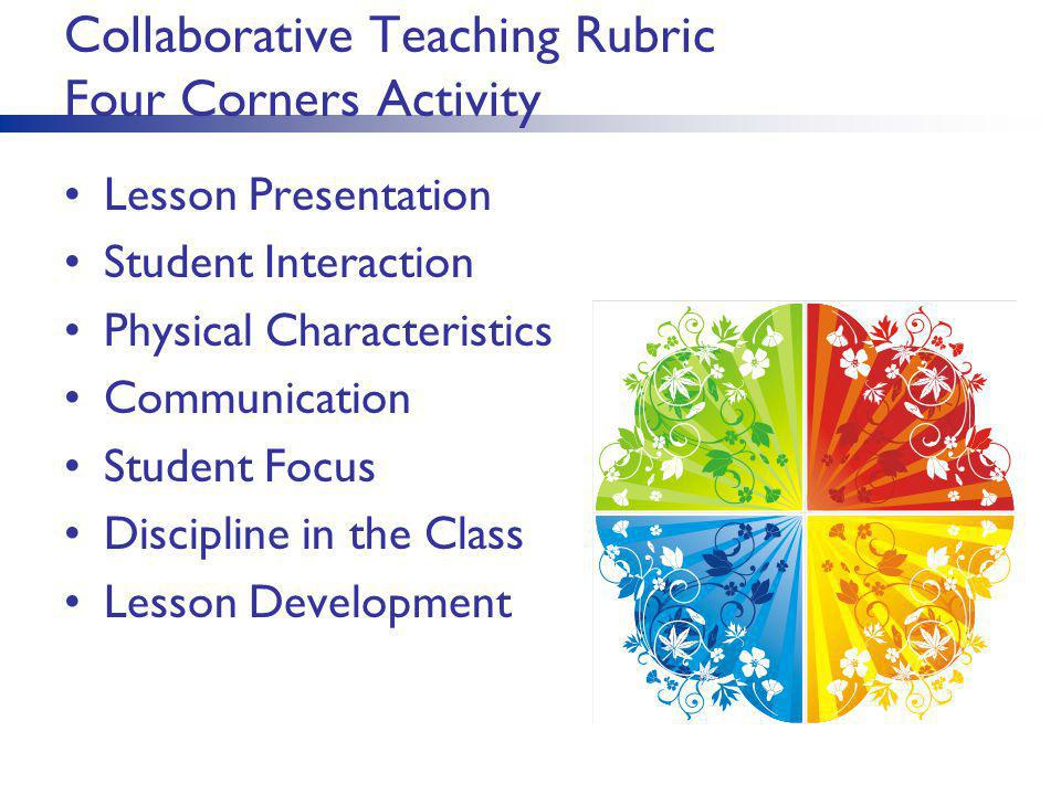 Collaborative Teaching Rubric Four Corners Activity