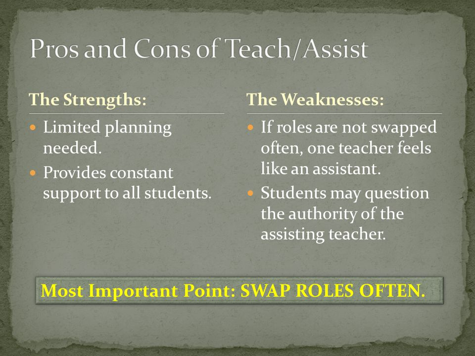 Pros and Cons of Teach/Assist
