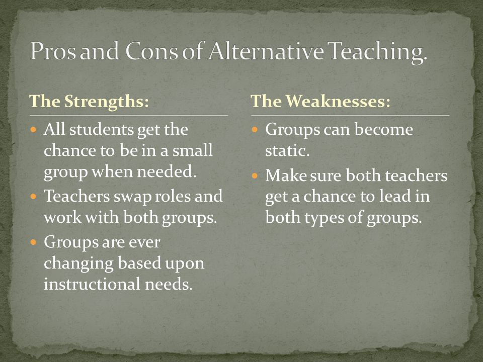 Pros and Cons of Alternative Teaching.