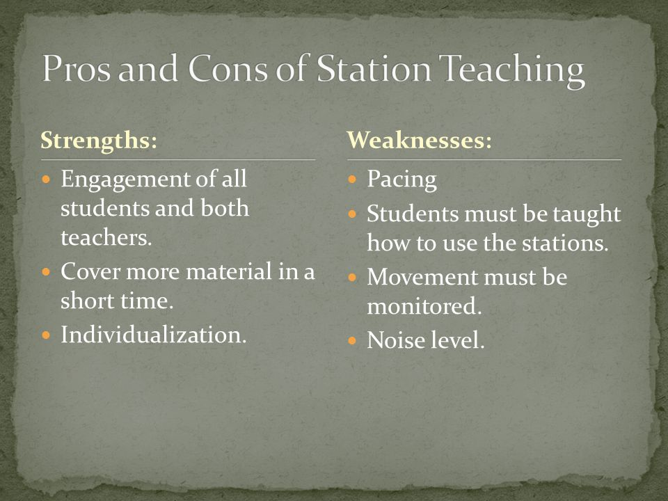 Pros and Cons of Station Teaching