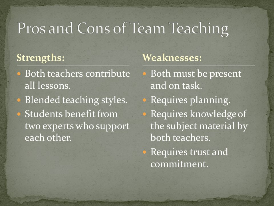 Pros and Cons of Team Teaching