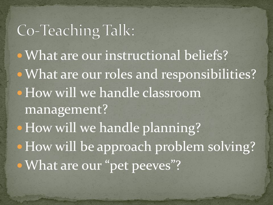 Co-Teaching Talk: What are our instructional beliefs