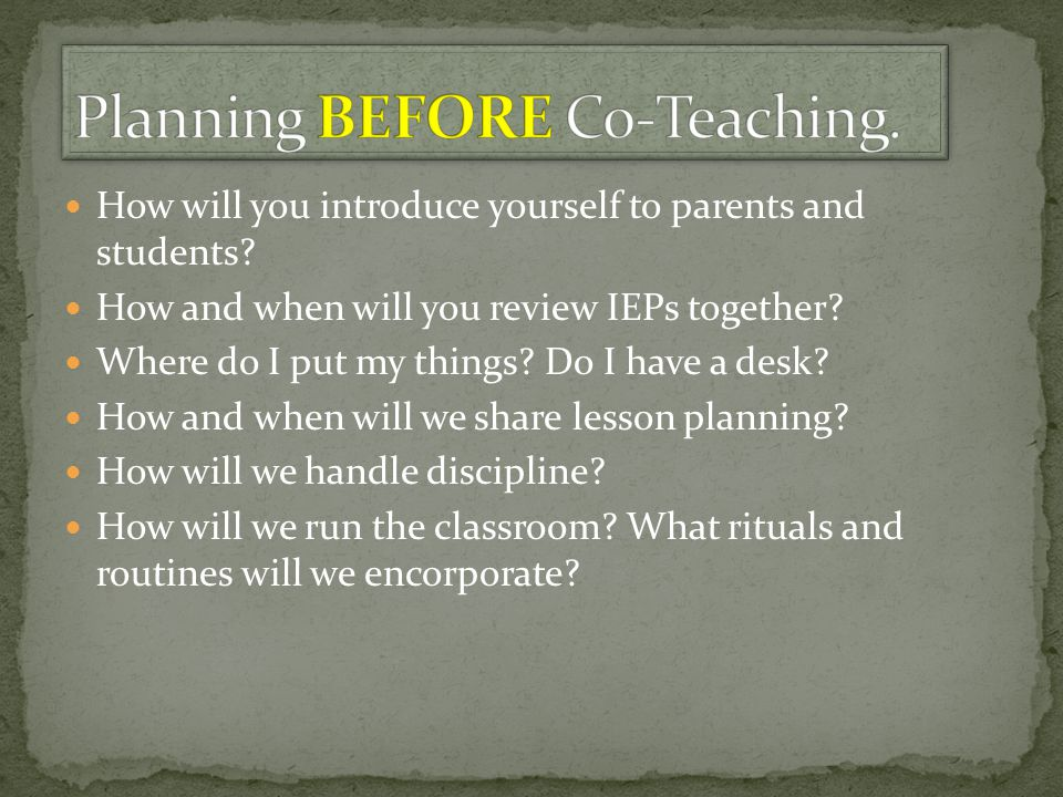 Planning BEFORE Co-Teaching.