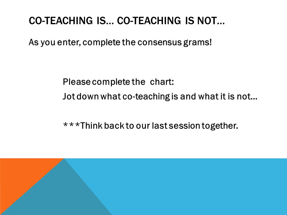 Co-Teaching is… co-teaching is not…