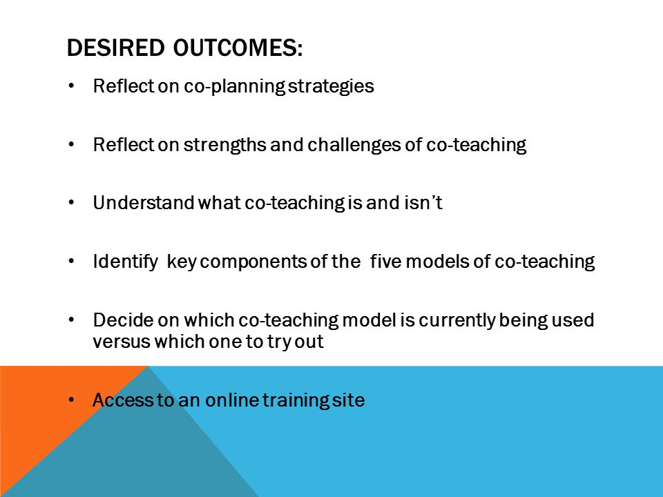 Desired Outcomes: Reflect on co-planning strategies