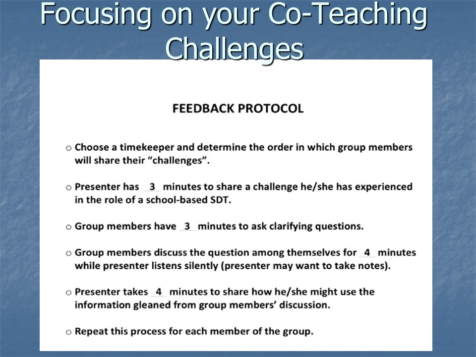 Focusing on your Co-Teaching Challenges