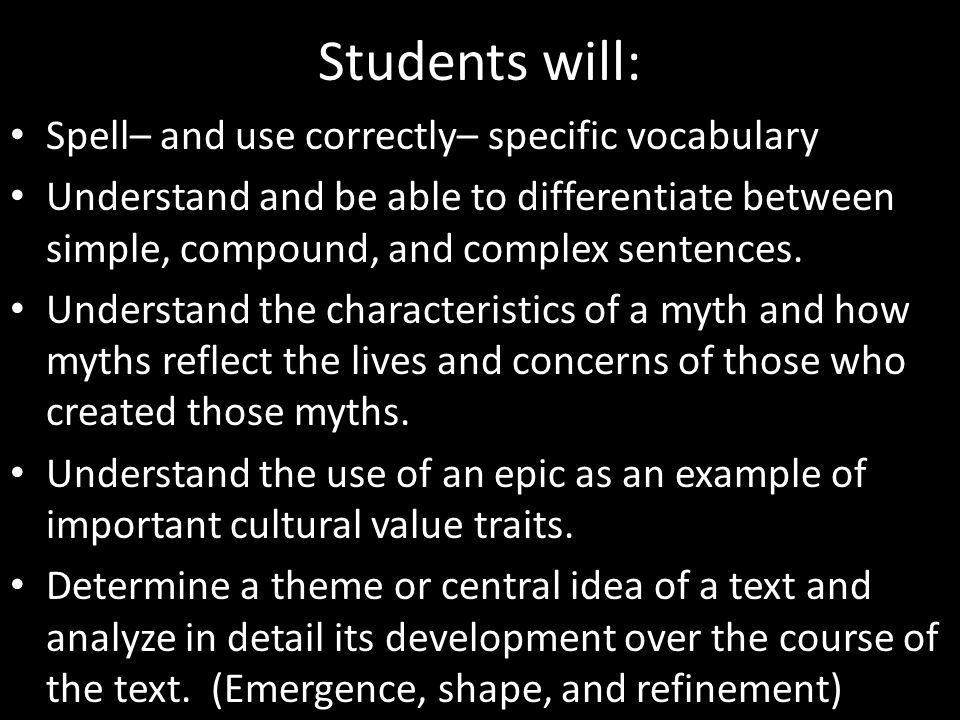 Students will: Spell– and use correctly– specific vocabulary