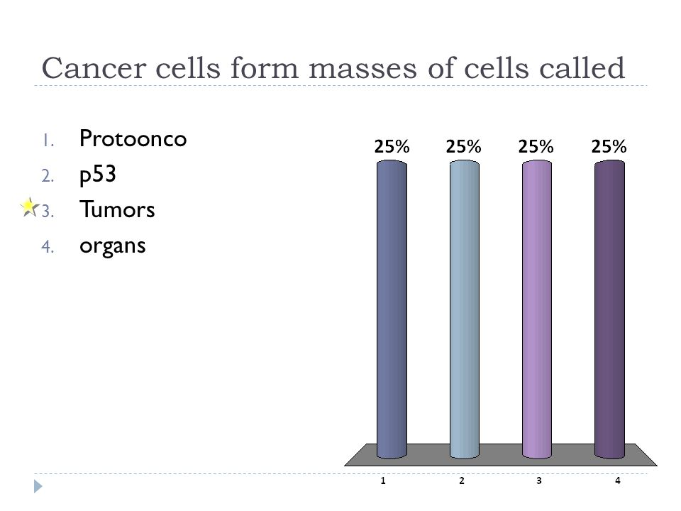 Cancer cells form masses of cells called