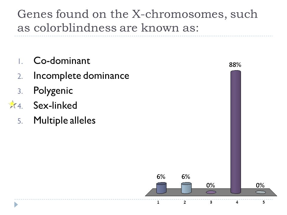 Genes found on the X-chromosomes, such as colorblindness are known as: