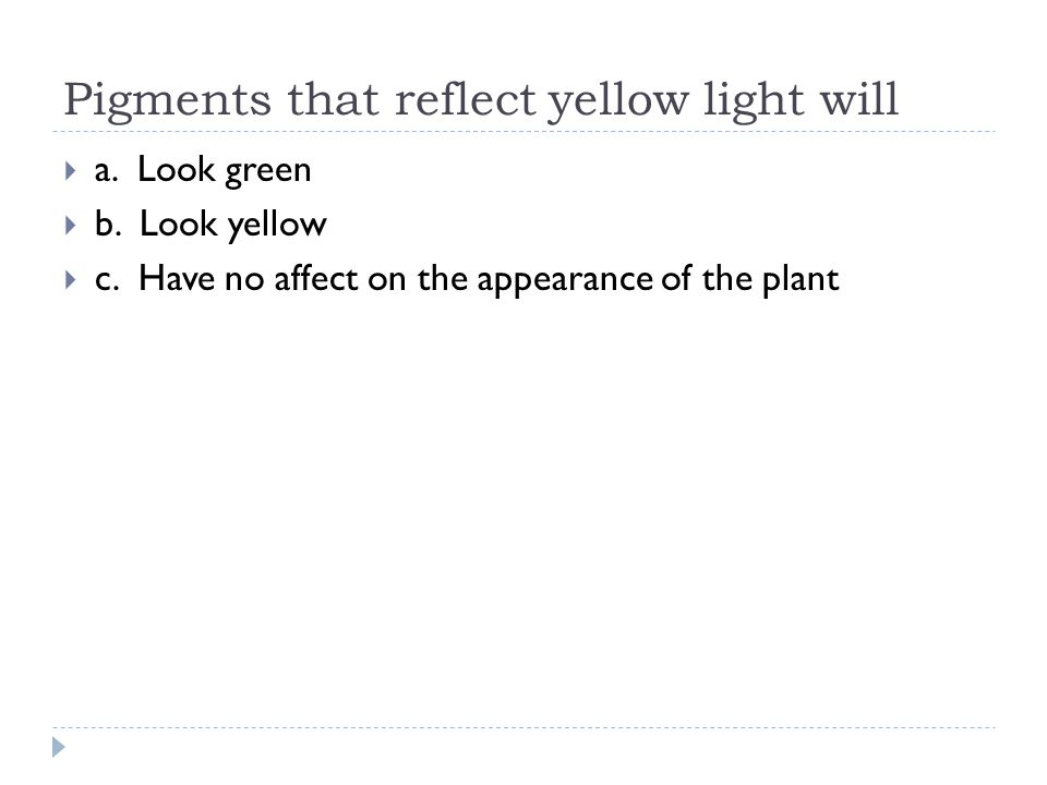 Pigments that reflect yellow light will