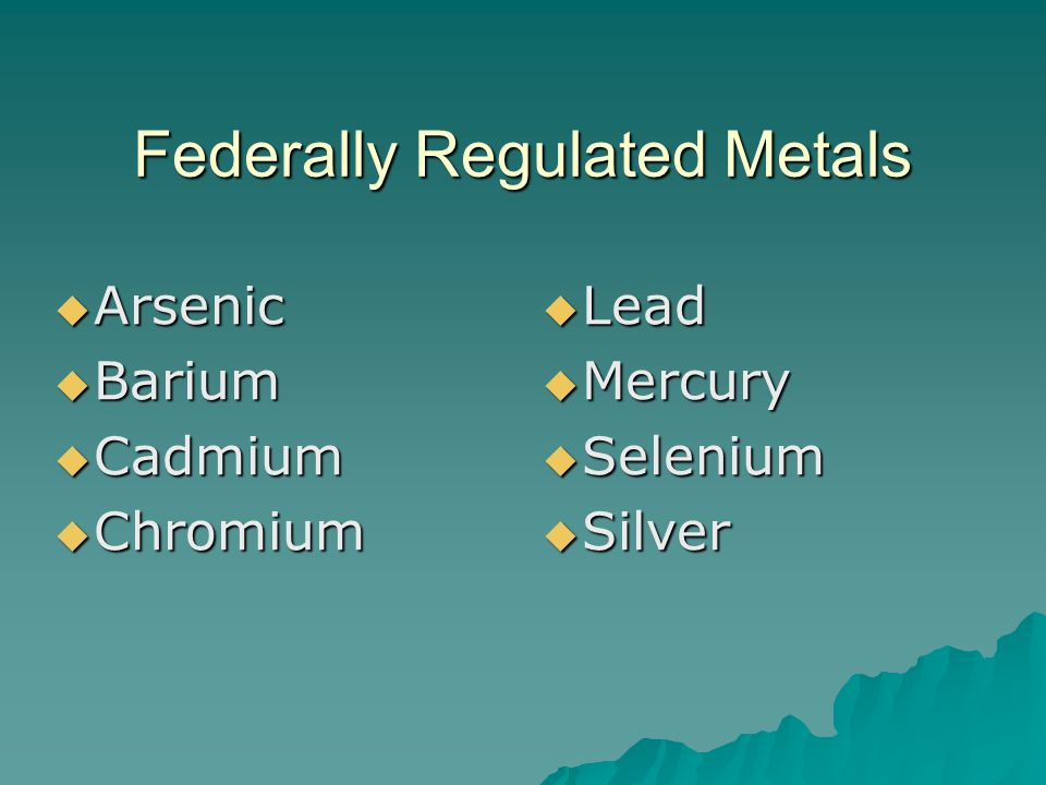 Federally Regulated Metals