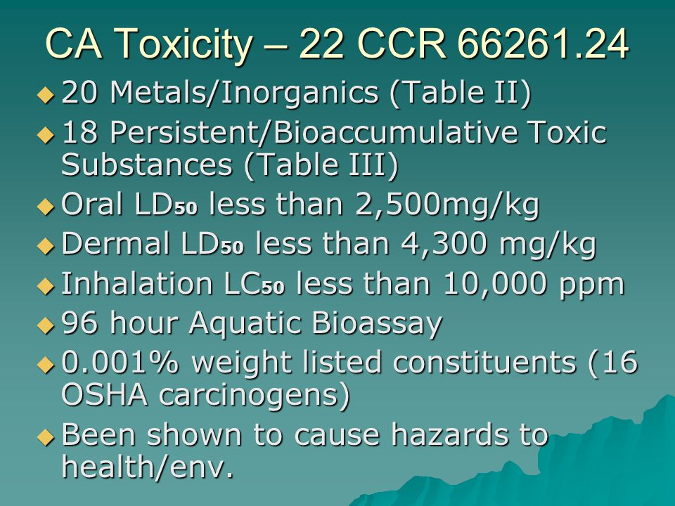 CA Toxicity – 22 CCR 66261.24 20 Metals/Inorganics (Table II)