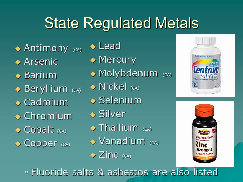 State Regulated Metals