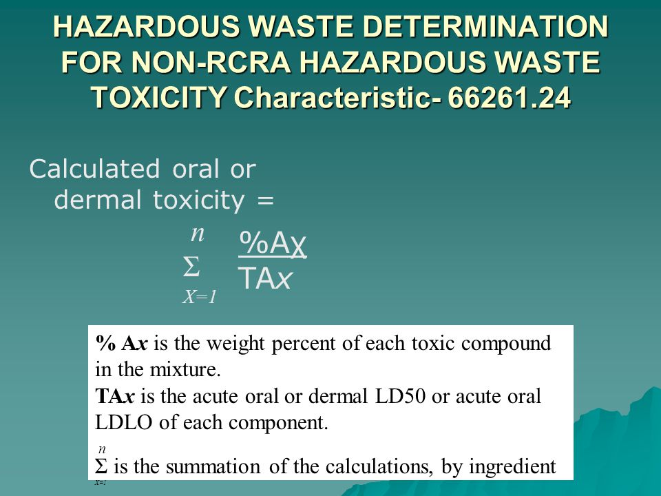 HAZARDOUS WASTE DETERMINATION FOR NON-RCRA HAZARDOUS WASTE TOXICITY Characteristic- 66261.24