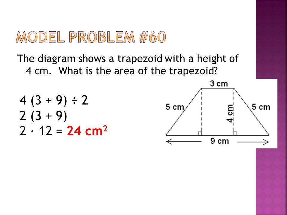 Model Problem #60 4 (3 + 9) ÷ 2 2 (3 + 9) 2 ∙ 12 = 24 cm2