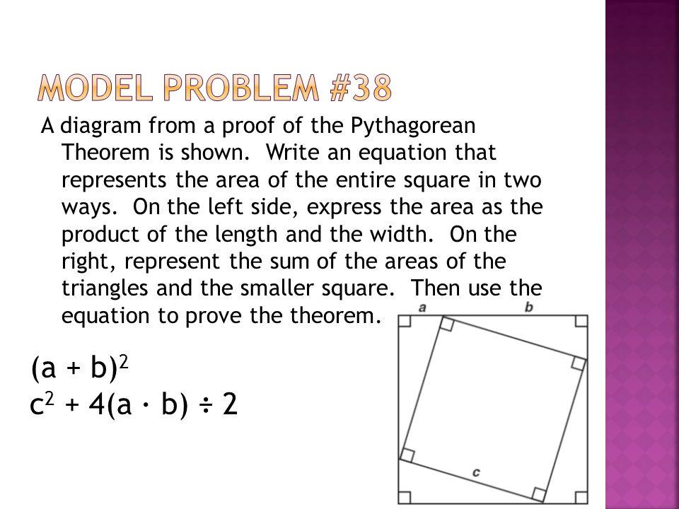 Model Problem #38 (a + b)2 c2 + 4(a ∙ b) ÷ 2