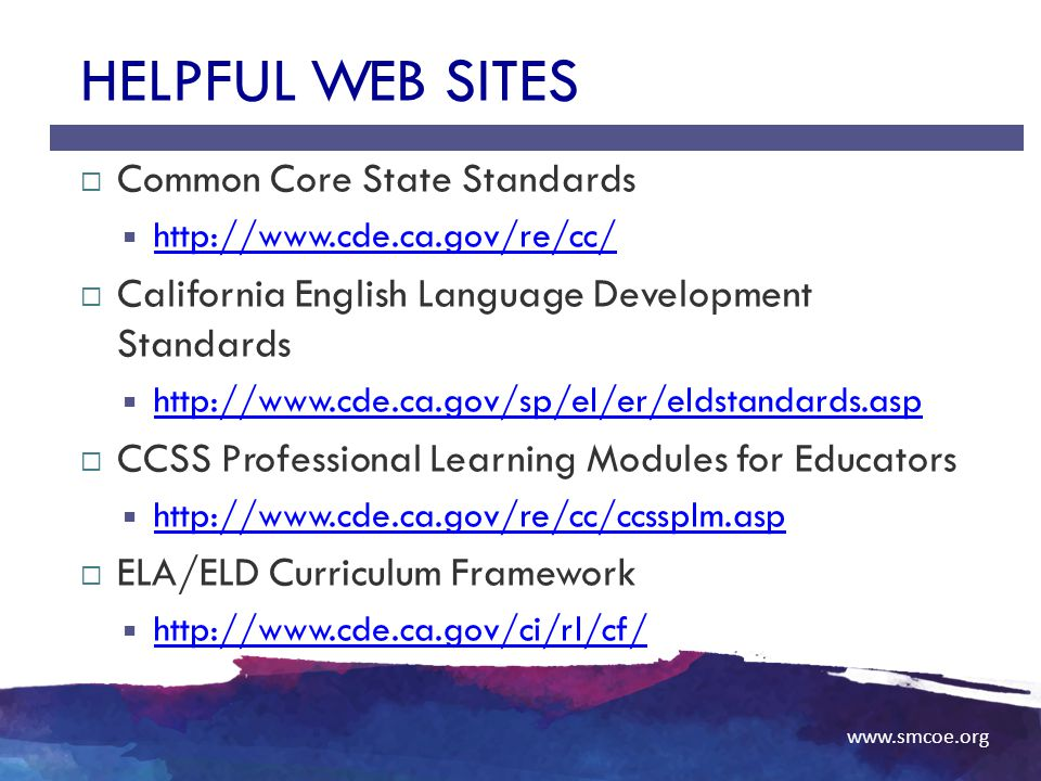 Helpful Web Sites Common Core State Standards