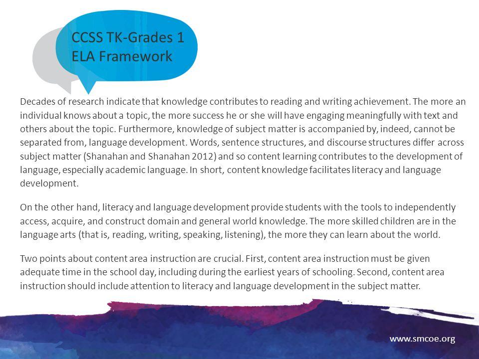 CCSS TK-Grades 1 ELA Framework