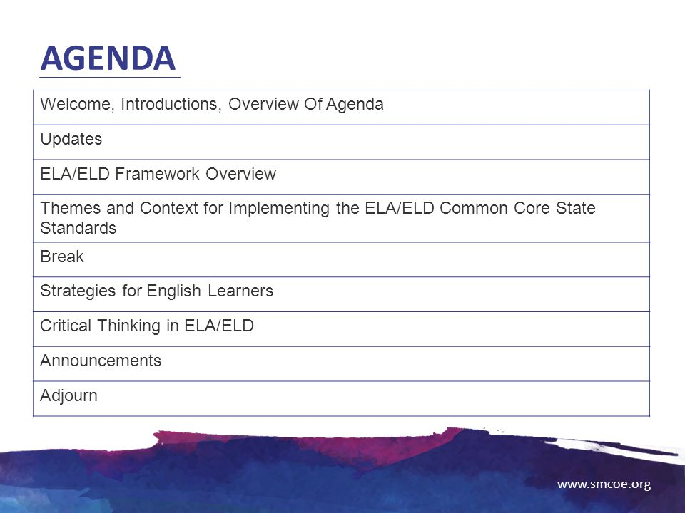 Agenda Welcome, Introductions, Overview Of Agenda Updates