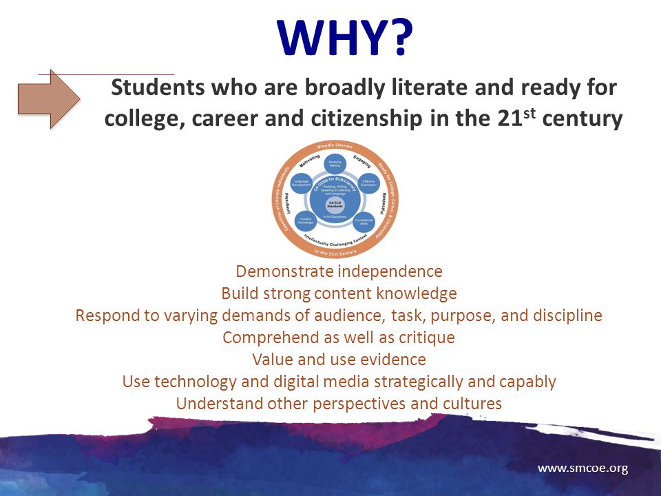 WHY Students who are broadly literate and ready for college, career and citizenship in the 21st century.