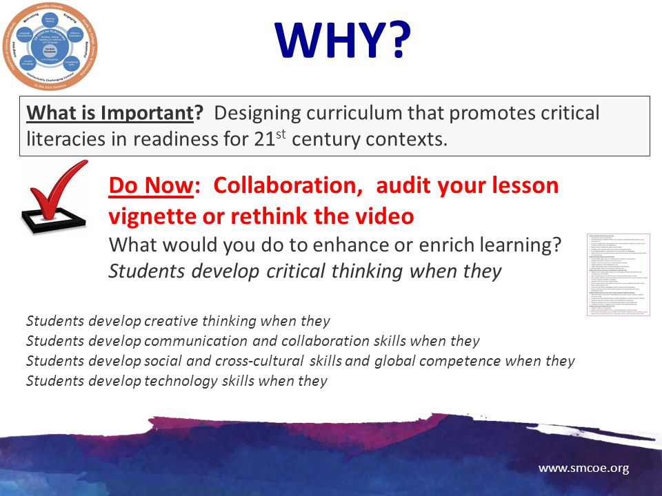 WHY What is Important Designing curriculum that promotes critical literacies in readiness for 21st century contexts.
