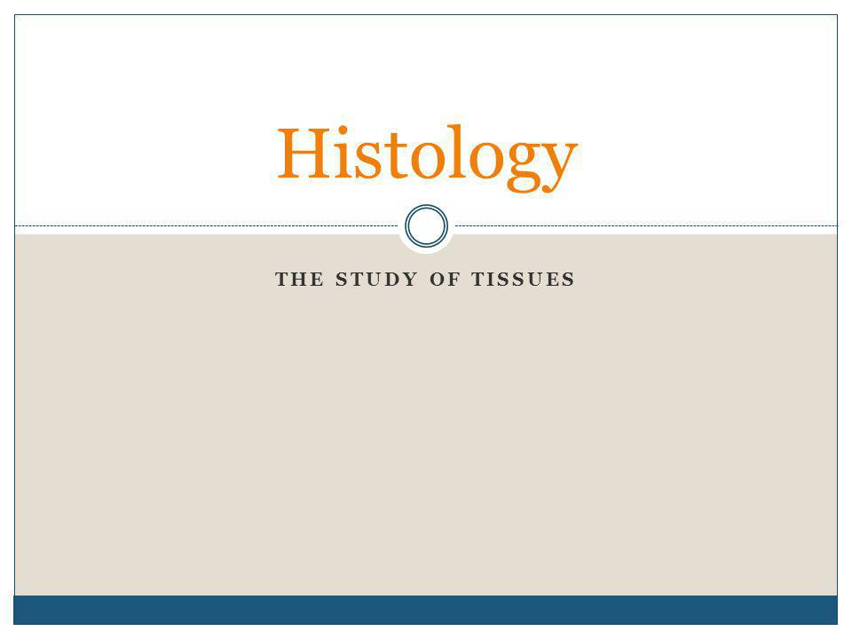 Histology The study of tissues