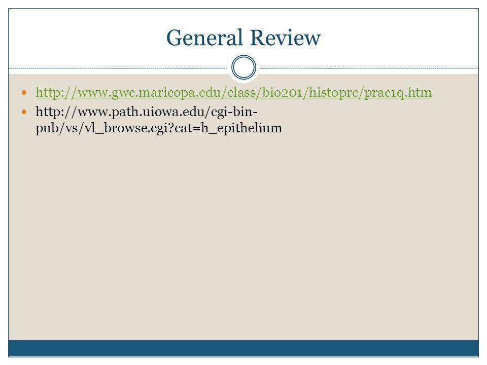 General Review http://www.gwc.maricopa.edu/class/bio201/histoprc/prac1q.htm.