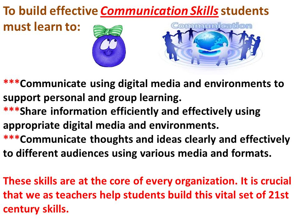 To build effective Communication Skills students must learn to: