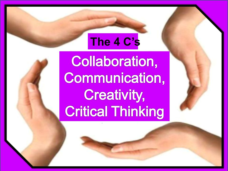 The 4 C's Collaboration, Communication, Creativity, Critical Thinking