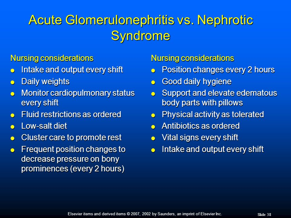 Acute Glomerulonephritis vs. Nephrotic Syndrome