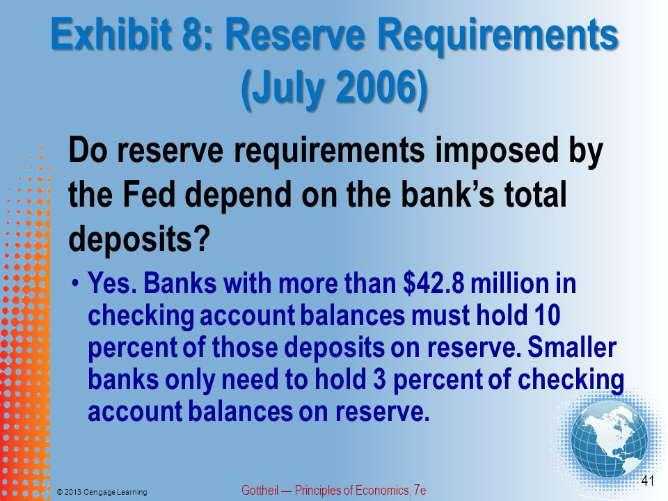 Exhibit 8: Reserve Requirements (July 2006)
