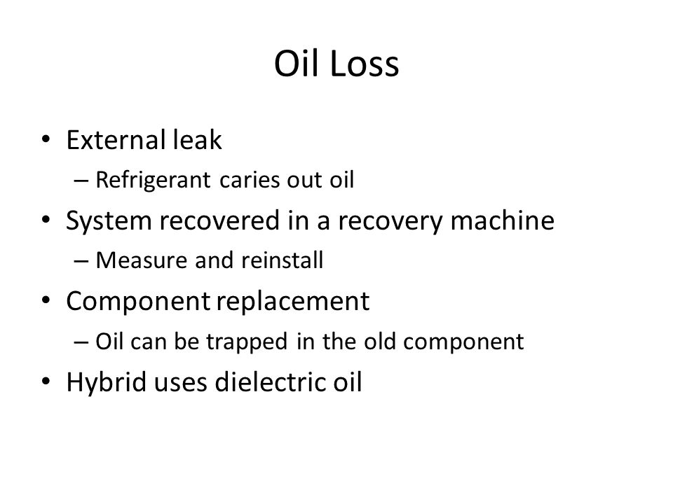 Oil Loss External leak System recovered in a recovery machine