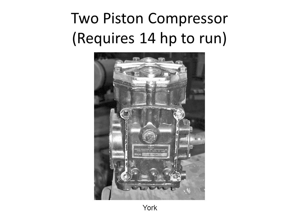 Two Piston Compressor (Requires 14 hp to run)