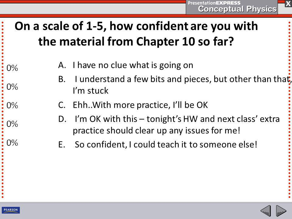 On a scale of 1-5, how confident are you with the material from Chapter 10 so far