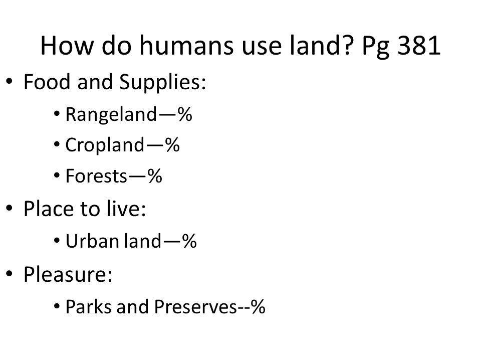 How do humans use land Pg 381