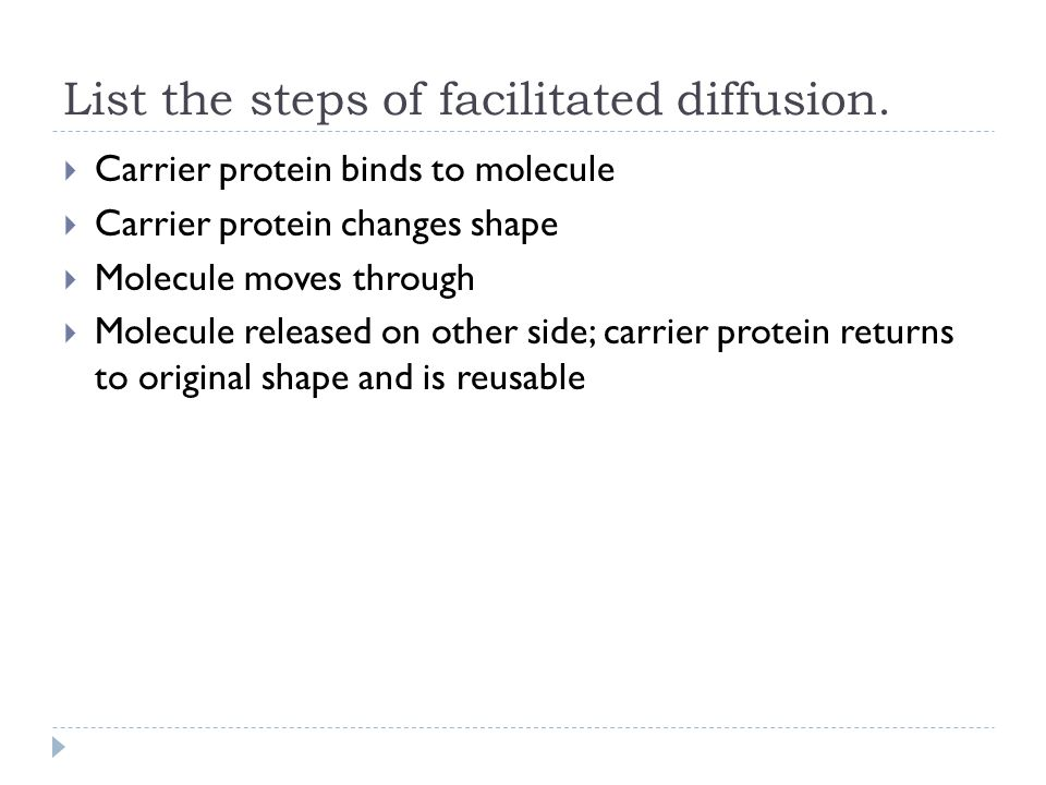 List the steps of facilitated diffusion.