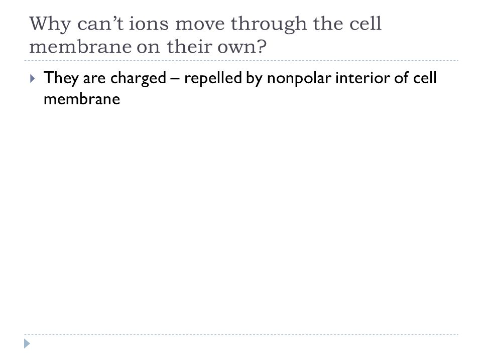 Why can't ions move through the cell membrane on their own