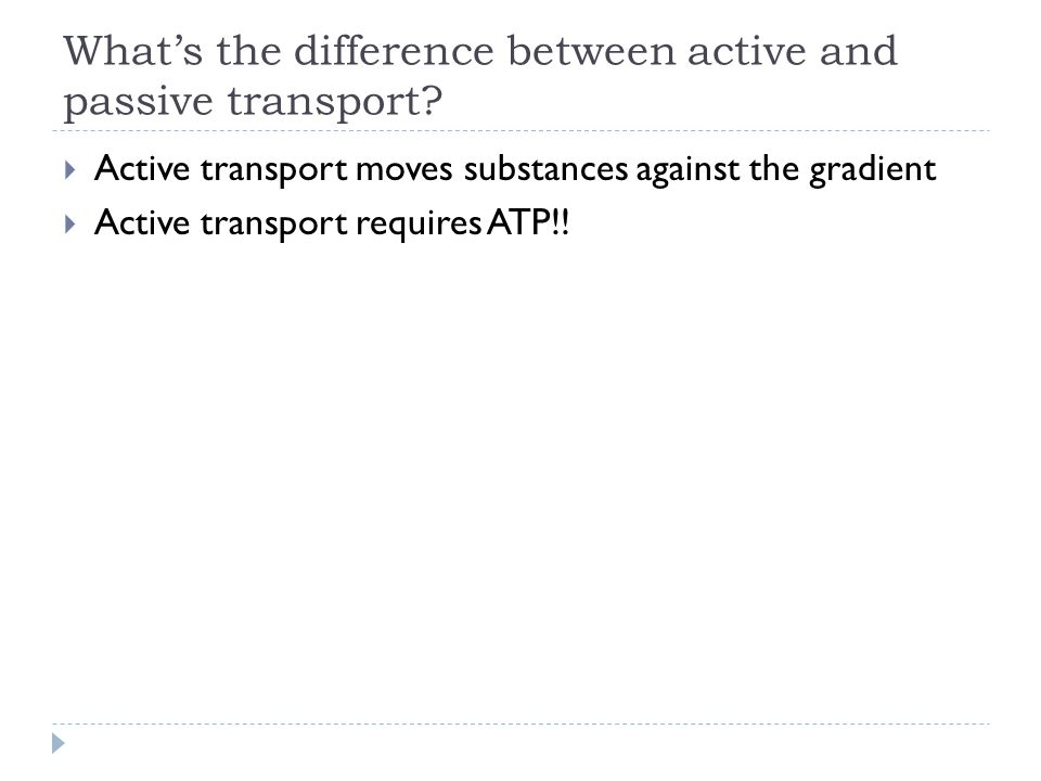 What's the difference between active and passive transport