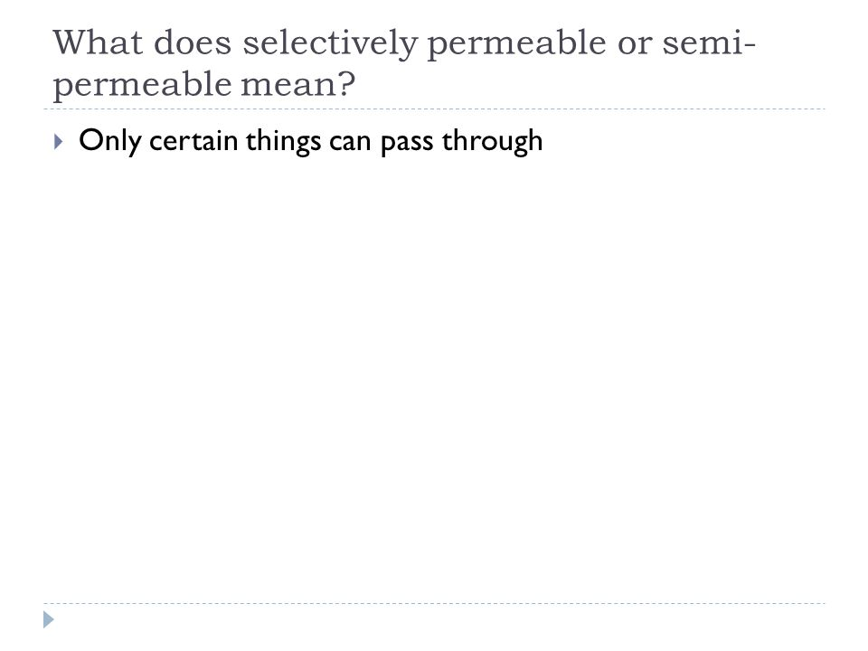 What does selectively permeable or semi-permeable mean