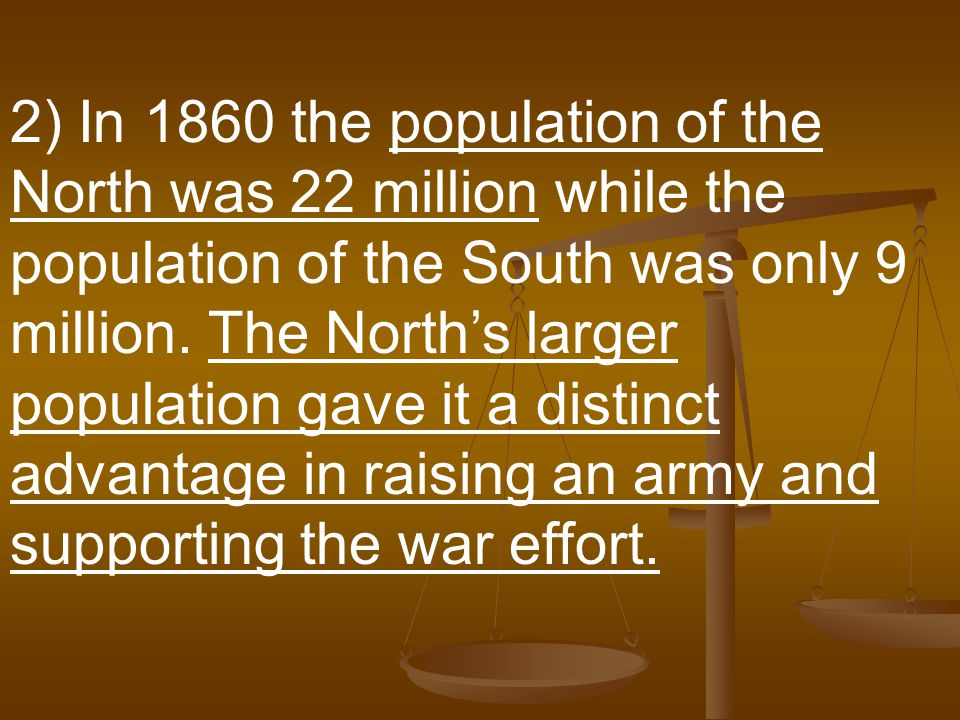 2) In 1860 the population of the North was 22 million while the population of the South was only 9 million.