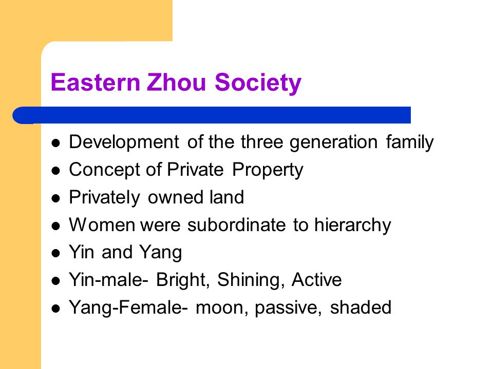 Eastern Zhou Society Development of the three generation family