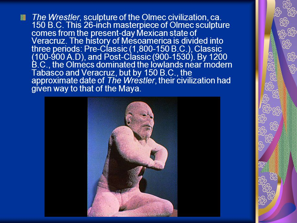 The Wrestler, sculpture of the Olmec civilization, ca. 150 B. C