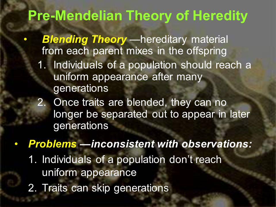 Pre-Mendelian Theory of Heredity