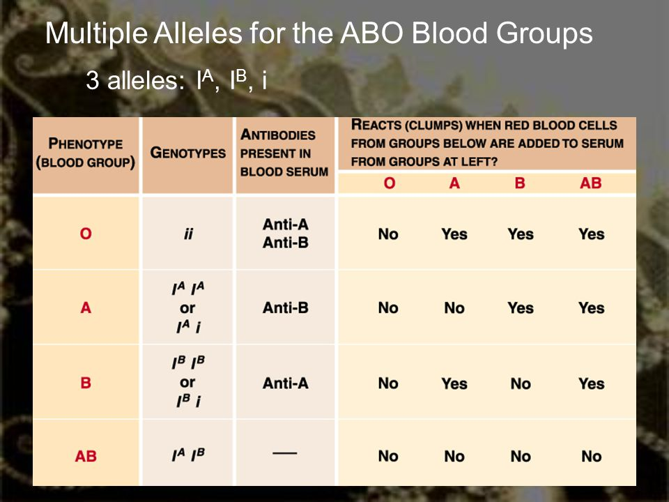 Multiple Alleles for the ABO Blood Groups