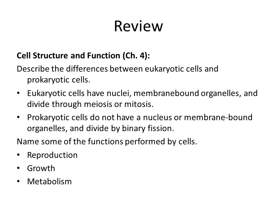 Review Cell Structure and Function (Ch. 4):