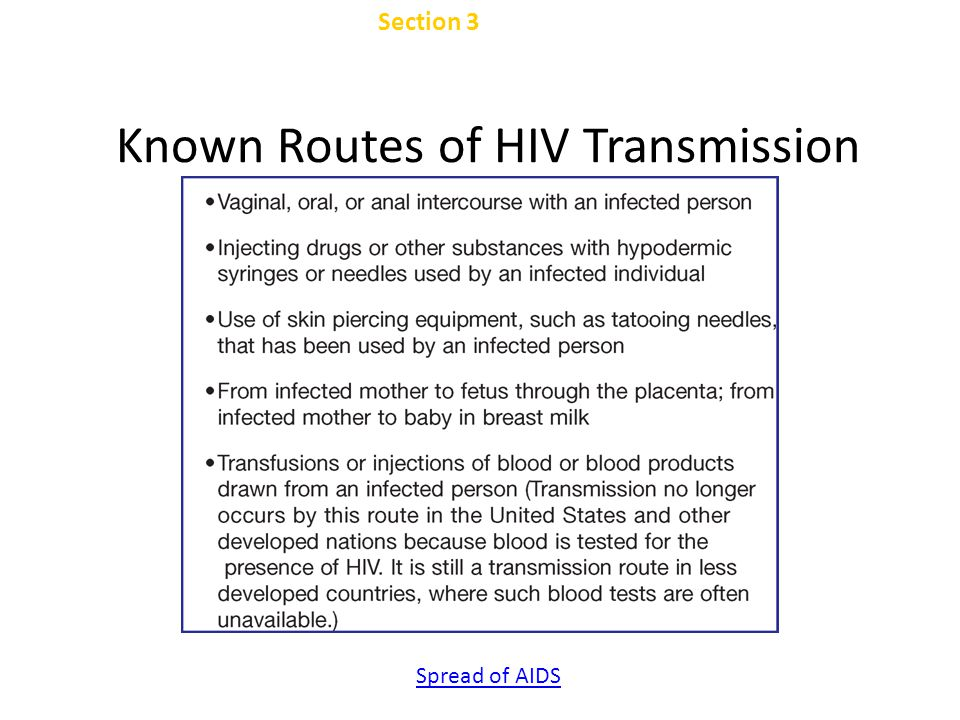 Known Routes of HIV Transmission