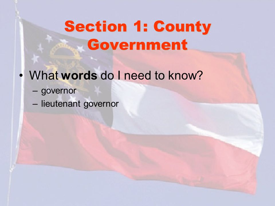Section 1: County Government