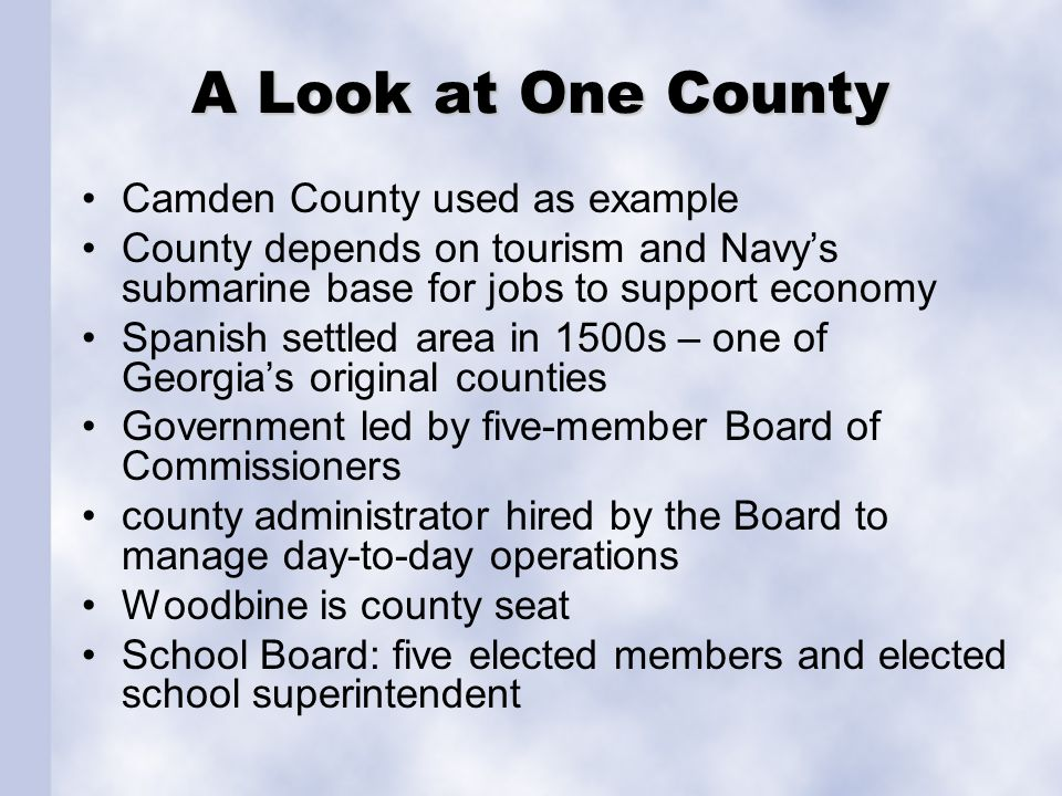 A Look at One County Camden County used as example