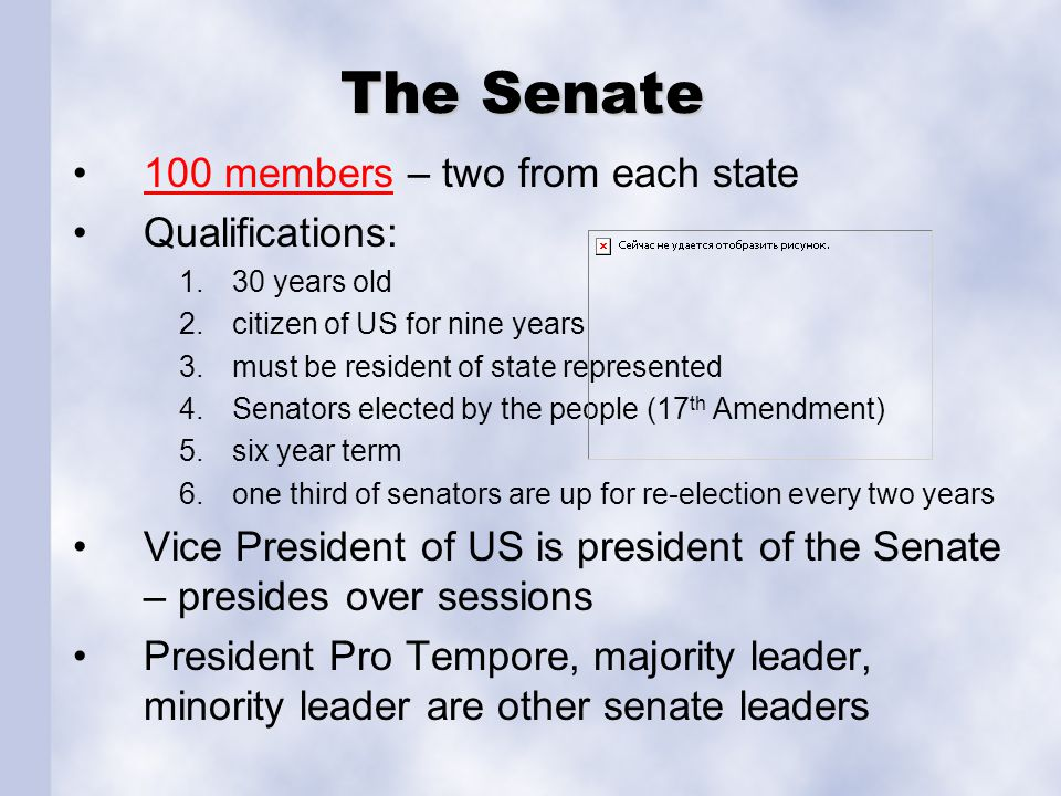 The Senate 100 members – two from each state Qualifications: