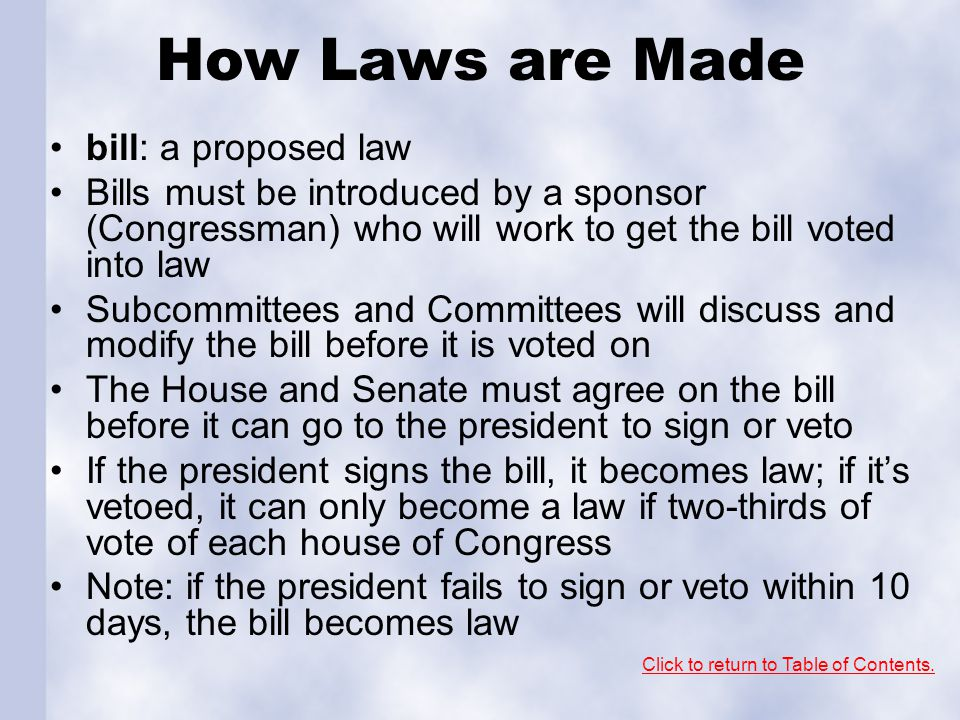 How Laws are Made bill: a proposed law